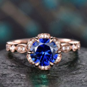 Blue sapphire ring vintage sapphire  engagement ring 14k rose gold for women diamond under halo ring marquise floral wedding ring jewelry | Natural genuine Array rings, simple unique alternative gemstone engagement rings. #rings #jewelry #bridal #wedding #jewelryaccessories #engagementrings #weddingideas #affiliate #ad