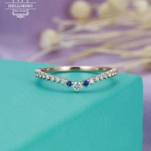 Shop Sapphire Rings! Moissanite wedding bands Women Rose gold Sapphire  Dainty Jewelry Unique Matching Stacking Micro pave Half eternity Gift for her Bridal | Natural genuine Sapphire rings, simple unique alternative gemstone engagement rings. #rings #jewelry #bridal #wedding #jewelryaccessories #engagementrings #weddingideas #affiliate #ad