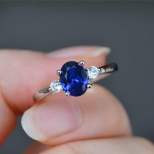 Oval Sapphire Ring Lab Sapphire Engagement Ring Blue Sapphire Ring Anniversary Ring Promise Ring | Natural genuine Gemstone rings, simple unique alternative gemstone engagement rings. #rings #jewelry #bridal #wedding #jewelryaccessories #engagementrings #weddingideas #affiliate #ad