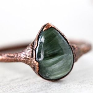 Seraphinite Ring – Stone Stacking Ring – Green Stone – Teardrop Stone Ring | Natural genuine Gemstone rings, simple unique handcrafted gemstone rings. #rings #jewelry #shopping #gift #handmade #fashion #style #affiliate #ad