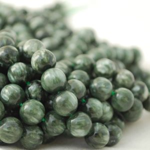 """Shop Seraphinite Beads! High Quality Grade A Natural Seraphinite Semi-precious Gemstone Round Beads – 4mm,  6mm, 10mm sizes – Approx 15.5"""" strand 
