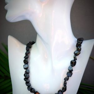 Shop Shungite Necklaces! Genuine Shungite EMF Protection Small Tumbled Pebble Nugget Knotted Necklace 18 inches w/ 2 inch Silver extension chain Lobster Clasp Choker | Natural genuine Shungite necklaces. Buy crystal jewelry, handmade handcrafted artisan jewelry for women.  Unique handmade gift ideas. #jewelry #beadednecklaces #beadedjewelry #gift #shopping #handmadejewelry #fashion #style #product #necklaces #affiliate #ad