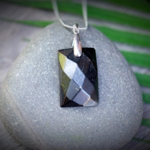Shop Shungite Pendants! Genuine Shungite EMF Protection 1 in. Vertical Rectangle Faceted Pendant with Optional 925 Italy Sterling Silver Filled Chain Necklace | Natural genuine Shungite pendants. Buy crystal jewelry, handmade handcrafted artisan jewelry for women.  Unique handmade gift ideas. #jewelry #beadedpendants #beadedjewelry #gift #shopping #handmadejewelry #fashion #style #product #pendants #affiliate #ad