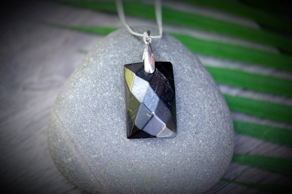 Genuine Shungite Emf Protection 1 In. Vertical Rectangle Faceted Pendant With Optional 925 Italy Sterling Silver Filled Chain Necklace
