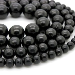 Shop Shungite Beads! Natural Shungite, Smooth Round Shungite Gemstone Loose Gemstone Beads – Full Strand | Natural genuine round Shungite beads for beading and jewelry making.  #jewelry #beads #beadedjewelry #diyjewelry #jewelrymaking #beadstore #beading #affiliate #ad