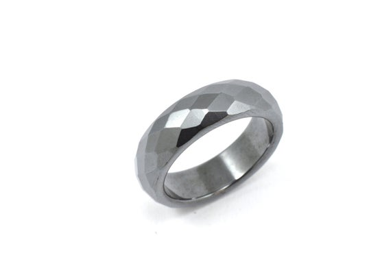 Size 6.5, Solid Hematite Ring, Black Ring, Solid Grey Ring, Hematite Ring, Stone Ring, Solid Stone Ring,  Ring