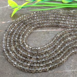 Shop Smoky Quartz Faceted Beads! Natural Smoky Quartz 4-4.5mm Faceted Rondelle Gemstone Beads / Approx 125 Pieces On 14 Inch Long Strand / Jbc-et-147566 | Natural genuine faceted Smoky Quartz beads for beading and jewelry making.  #jewelry #beads #beadedjewelry #diyjewelry #jewelrymaking #beadstore #beading #affiliate #ad