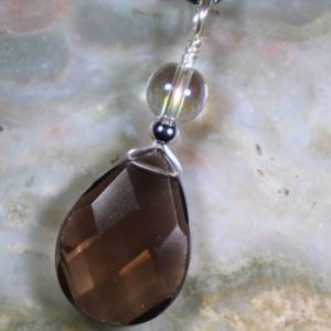 Shop Smoky Quartz Necklaces! Smoky Quartz And Angel Aura Healing Stone Necklace With Positive Healing Energy! | Natural genuine Smoky Quartz necklaces. Buy crystal jewelry, handmade handcrafted artisan jewelry for women.  Unique handmade gift ideas. #jewelry #beadednecklaces #beadedjewelry #gift #shopping #handmadejewelry #fashion #style #product #necklaces #affiliate #ad
