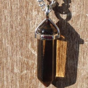Shop Smoky Quartz Necklaces! Smoky Quartz Hexagonal Pointe Necklace with Positive Healing Energy! | Natural genuine Smoky Quartz necklaces. Buy crystal jewelry, handmade handcrafted artisan jewelry for women.  Unique handmade gift ideas. #jewelry #beadednecklaces #beadedjewelry #gift #shopping #handmadejewelry #fashion #style #product #necklaces #affiliate #ad