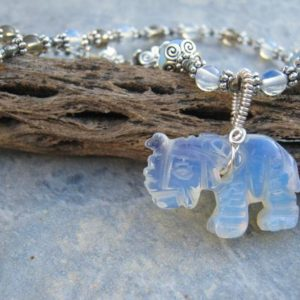 """Shop Smoky Quartz Necklaces! Opalite Elephant Necklace, 19.5"""" Smoky Quartz Beaded Gemstone Necklace, Pachyderm Jewelry, Antiqued Silver, White Elephant 