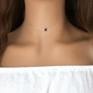 Shop Smoky Quartz Necklaces! Tiny Smoky Quartz choker necklace, Sterling Silver or 14k gold filled | Natural genuine Smoky Quartz necklaces. Buy crystal jewelry, handmade handcrafted artisan jewelry for women.  Unique handmade gift ideas. #jewelry #beadednecklaces #beadedjewelry #gift #shopping #handmadejewelry #fashion #style #product #necklaces #affiliate #ad