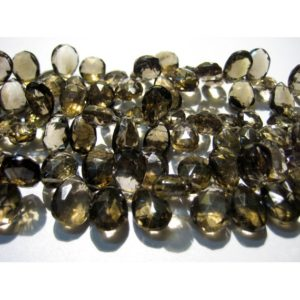 Shop Smoky Quartz Bead Shapes! 10x15mm-9x12mm Smoky Quartz Faceted Pear Briolette, Smoky Quartz Briolette Beads, Faceted Pear Smoky Quartz For Jewelry (4IN To 8IN Options) | Natural genuine other-shape Smoky Quartz beads for beading and jewelry making.  #jewelry #beads #beadedjewelry #diyjewelry #jewelrymaking #beadstore #beading #affiliate #ad