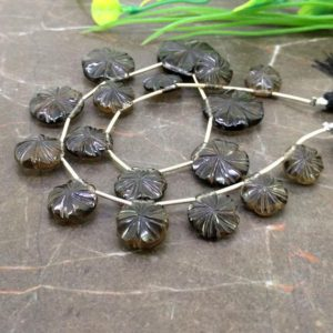 Natural Smoky Quartz 11-20mm Carved Flower Briolette Beads / Approx 17 pieces on 10 Inch long strand / JBC-ET-153758 | Natural genuine other-shape Gemstone beads for beading and jewelry making.  #jewelry #beads #beadedjewelry #diyjewelry #jewelrymaking #beadstore #beading #affiliate #ad