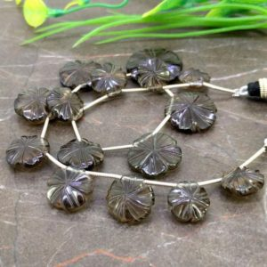 Natural Smoky Quartz 11-20mm Carved Flower Briolette Beads / Approx 15 pieces on 9 Inch long strand / JBC-ET-153757 | Natural genuine other-shape Gemstone beads for beading and jewelry making.  #jewelry #beads #beadedjewelry #diyjewelry #jewelrymaking #beadstore #beading #affiliate #ad