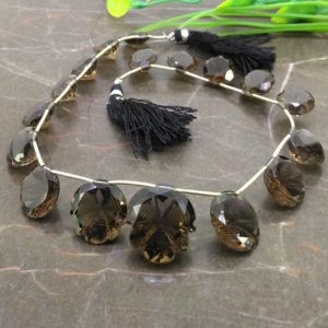 Shop Smoky Quartz Bead Shapes! Natural Smoky Quartz 12.5-21mm Carved Creative Cut Briolette Beads / Approx 17 pieces on 10 Inch long strand / JBC-ET-153736 | Natural genuine other-shape Smoky Quartz beads for beading and jewelry making.  #jewelry #beads #beadedjewelry #diyjewelry #jewelrymaking #beadstore #beading #affiliate #ad