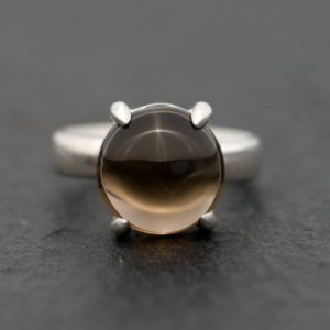 Smoky Quartz Ring – Smoky Quartz Cabochon Ring – Smoky Quartz Statement Ring – Cabochon Quartz Ring – Dome Ring – Made to Order | Natural genuine Gemstone rings, simple unique handcrafted gemstone rings. #rings #jewelry #shopping #gift #handmade #fashion #style #affiliate #ad