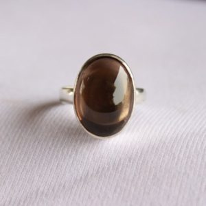 Shop Smoky Quartz Jewelry! Natural Smoky Quartz Ring-Handmade Silver Ring-925 Sterling Silver Ring-Designer Oval Smoky Quartz Ring-Gift for her-Capricorn Birthstone | Natural genuine Smoky Quartz jewelry. Buy crystal jewelry, handmade handcrafted artisan jewelry for women.  Unique handmade gift ideas. #jewelry #beadedjewelry #beadedjewelry #gift #shopping #handmadejewelry #fashion #style #product #jewelry #affiliate #ad
