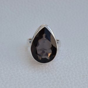 Shop Smoky Quartz Jewelry! Natural Smoky Quartz Ring-Handmade Silver Ring-925 Sterling Silver Ring-Teardrop Smoky Quartz Ring-Gift for her-Capricorn Birthstone | Natural genuine Smoky Quartz jewelry. Buy crystal jewelry, handmade handcrafted artisan jewelry for women.  Unique handmade gift ideas. #jewelry #beadedjewelry #beadedjewelry #gift #shopping #handmadejewelry #fashion #style #product #jewelry #affiliate #ad