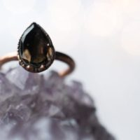 Smokey Quartz Ring | Organic Stone Stacking Ring | Smokey Quartz Teardrop Ring | Organic Gemstone Jewelry | Mineral Stacking Ring | Natural genuine Gemstone jewelry. Buy crystal jewelry, handmade handcrafted artisan jewelry for women.  Unique handmade gift ideas. #jewelry #beadedjewelry #beadedjewelry #gift #shopping #handmadejewelry #fashion #style #product #jewelry #affiliate #ad
