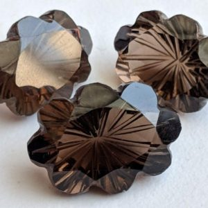 Shop Smoky Quartz Shapes! 3 Pc Set Smoky Quartz Fancy Flower Hand Carved Cut Stones, Filigree Finding, Smoky Quartz Jewelry, Stone Carving, Brown Stone For Jewelry | Natural genuine stones & crystals in various shapes & sizes. Buy raw cut, tumbled, or polished gemstones for making jewelry or crystal healing energy vibration raising reiki stones. #crystals #gemstones #crystalhealing #crystalsandgemstones #energyhealing #affiliate #ad