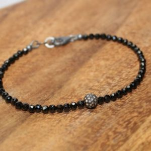 Shop Spinel Bracelets! Black Spinel Pave Diamond Ball Bracelet, Genuine Diamonds, Oxidized Sterling Silver, Black Spinel Jewelry | Natural genuine Spinel bracelets. Buy crystal jewelry, handmade handcrafted artisan jewelry for women.  Unique handmade gift ideas. #jewelry #beadedbracelets #beadedjewelry #gift #shopping #handmadejewelry #fashion #style #product #bracelets #affiliate #ad