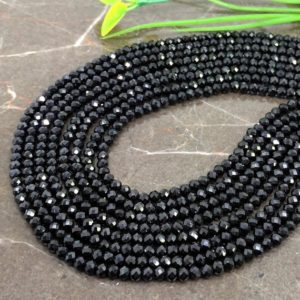 Shop Spinel Faceted Beads! Natural Black Spinel 3-3.5mm Micro Faceted Rondelle Gemstone Beads / Approx 125 pieces on 14 Inch long strand / JBC-ET-147593 | Natural genuine faceted Spinel beads for beading and jewelry making.  #jewelry #beads #beadedjewelry #diyjewelry #jewelrymaking #beadstore #beading #affiliate #ad
