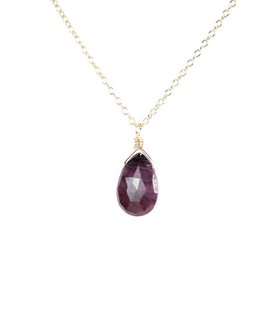 Sugilite Necklace - Purple Stone Necklace - Cyclosilicate Necklace - A Drop Of Purple Sugilite Wire Wrapped Onto A 14k Gold Vermeil Chain