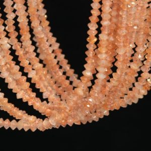 Shop Sunstone Faceted Beads! 197 Pcs – 3x2MM Sunstone Beads Grade AAA Genuine Natural Faceted Rondelle Gemstone Loose Beads (111433) | Natural genuine faceted Sunstone beads for beading and jewelry making.  #jewelry #beads #beadedjewelry #diyjewelry #jewelrymaking #beadstore #beading #affiliate #ad