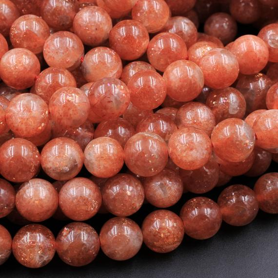 "Aaa Fiery Natural Sunstone Round Beads 5mm 6mm 8mm 10mm 12mm Feldspar Golden Glitters Orange Red Gemstone 15.5"" Strand"
