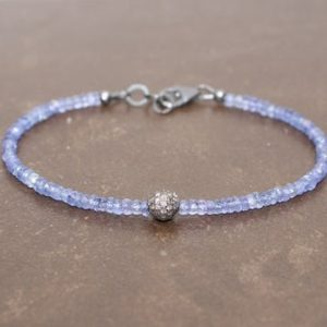 Shop Tanzanite Bracelets! Tanzanite Pave Diamond Ball Bracelet, Genuine Diamonds, Oxidized Sterling Silver, Tanzanite Jewelry, December Birthstone | Natural genuine Tanzanite bracelets. Buy crystal jewelry, handmade handcrafted artisan jewelry for women.  Unique handmade gift ideas. #jewelry #beadedbracelets #beadedjewelry #gift #shopping #handmadejewelry #fashion #style #product #bracelets #affiliate #ad