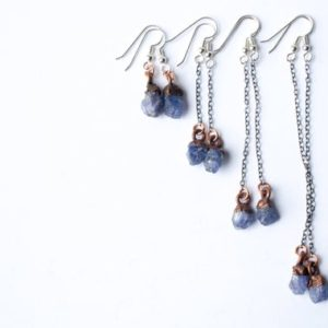 Raw Tanzanite Earrings | Tanzanite Dangle Earrings | Tanzanite Drop Earrings | Raw Crystal Earrings | Natural genuine Gemstone earrings. Buy crystal jewelry, handmade handcrafted artisan jewelry for women.  Unique handmade gift ideas. #jewelry #beadedearrings #beadedjewelry #gift #shopping #handmadejewelry #fashion #style #product #earrings #affiliate #ad