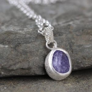 Shop Tanzanite Necklaces! Tanzanite Necklace in Sterling Silver – December Birthstone – Rough Raw & Uncut Purple Gemstone – Minimalist Jewellery – Layering Necklace | Natural genuine Tanzanite necklaces. Buy crystal jewelry, handmade handcrafted artisan jewelry for women.  Unique handmade gift ideas. #jewelry #beadednecklaces #beadedjewelry #gift #shopping #handmadejewelry #fashion #style #product #necklaces #affiliate #ad