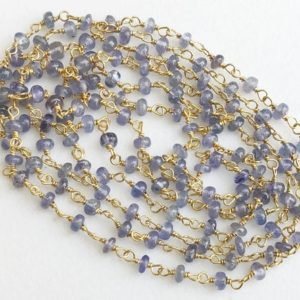 Shop Tanzanite Rondelle Beads! 3mm Tanzanite Plain Rondelle Beads Connector Chains in 925 Silver Gold Plate Wire Wrapped Rosary Style Chain, Chain By Foot – KS3341 | Natural genuine rondelle Tanzanite beads for beading and jewelry making.  #jewelry #beads #beadedjewelry #diyjewelry #jewelrymaking #beadstore #beading #affiliate #ad