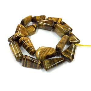"Shop Tiger Eye Chip & Nugget Beads! Natural Smooth Tiger Eye Flat Nugget Shape Beads 15mm Gemstone Beads 16"" Strand Top Quality 