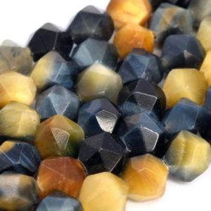 Shop Tiger Eye Beads! Genuine Natural Golden Blue Tiger Eye Loose Beads Grade AAA Star Cut Faceted Shape 7-8mm | Natural genuine beads Tiger Eye beads for beading and jewelry making.  #jewelry #beads #beadedjewelry #diyjewelry #jewelrymaking #beadstore #beading #affiliate #ad