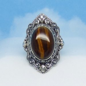 Shop Men's Gemstone Rings! Size 5-3/4 Tiger Eye Ring – Sterling Silver – Victorian Filigree Design – Bali Boho Antique Design – Gothic Ring – Natural Genuine  sa171758 | Natural genuine Agate rings, simple unique handcrafted gemstone rings. #rings #jewelry #shopping #gift #handmade #fashion #style #affiliate #ad