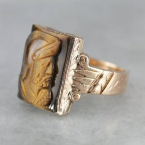 Shop Tiger Eye Rings! Victorian Tiger's Eye Cameo Rose Gold Ring, Men's Statement Ring KYJ5RM-D   Natural genuine Tiger Eye rings, simple unique handcrafted gemstone rings. #rings #jewelry #shopping #gift #handmade #fashion #style #affiliate #ad
