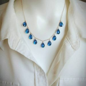 Shop Topaz Necklaces! Elegant london blue topaz necklace. Your choice of gold filled, sterling silver, or rose gold | Natural genuine Topaz necklaces. Buy crystal jewelry, handmade handcrafted artisan jewelry for women.  Unique handmade gift ideas. #jewelry #beadednecklaces #beadedjewelry #gift #shopping #handmadejewelry #fashion #style #product #necklaces #affiliate #ad