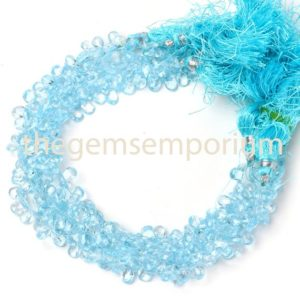 Shop Topaz Bead Shapes! Sky Blue Topaz Faceted Briolette Pears Shape Beads, Blue Topaz Faceted Beads, Blue Topaz Pear Beads, Sky Blue Topaz Beads | Natural genuine other-shape Topaz beads for beading and jewelry making.  #jewelry #beads #beadedjewelry #diyjewelry #jewelrymaking #beadstore #beading #affiliate #ad