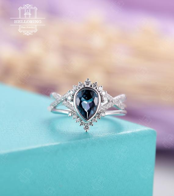 London Blue Topaz Engagement Ring Set White Gold Women,vintage Pear Shaped Ring,curved Diamond/ Moissanite Band,anniversary Gifts For Her