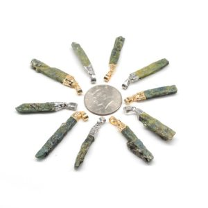 Shop Green Tourmaline Pendants! Tourmaline Charm Pendant, Freeform Green Kyanite, Gemstone Healing Point Long Pendant, Silver/Gold Cap And Bail, Gorgeous Accessories | Natural genuine Green Tourmaline pendants. Buy crystal jewelry, handmade handcrafted artisan jewelry for women.  Unique handmade gift ideas. #jewelry #beadedpendants #beadedjewelry #gift #shopping #handmadejewelry #fashion #style #product #pendants #affiliate #ad