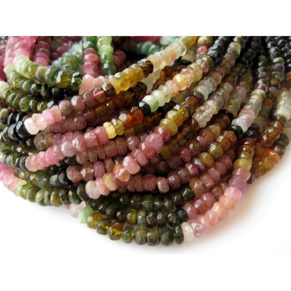5mm Tourmaline Faceted Rondelle Beads, Tourmaline Beads,13 Inch Multi Tourmaline Faceted Rondelle For Jewelry (1strand To 5strand Options)