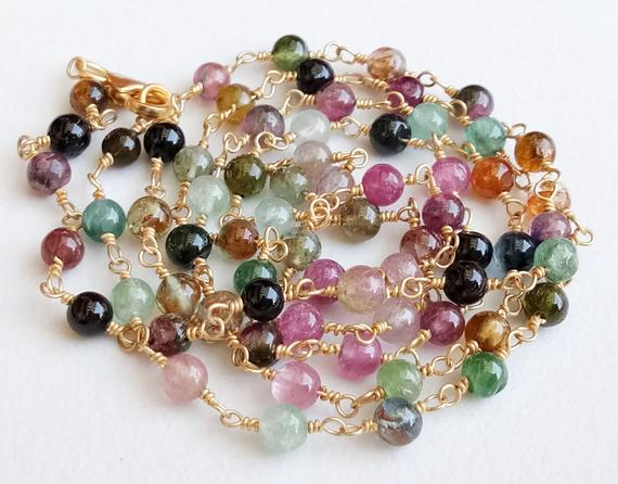 3.5-4mm Multi Tourmaline Plain Round Beads In 925 Silver Gold Wire Wrapped Rosary Style Chain, Tourmaline Beaded Chain By Foot - Pusdg20