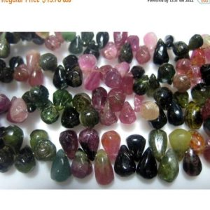 5x7mm Rough Multi Tourmaline Plain Tear Drop Beads, Raw Multi Tourmaline Briolettes, 4.5 Inch Multi Tourmaline For Jewelry | Natural genuine other-shape Gemstone beads for beading and jewelry making.  #jewelry #beads #beadedjewelry #diyjewelry #jewelrymaking #beadstore #beading #affiliate #ad