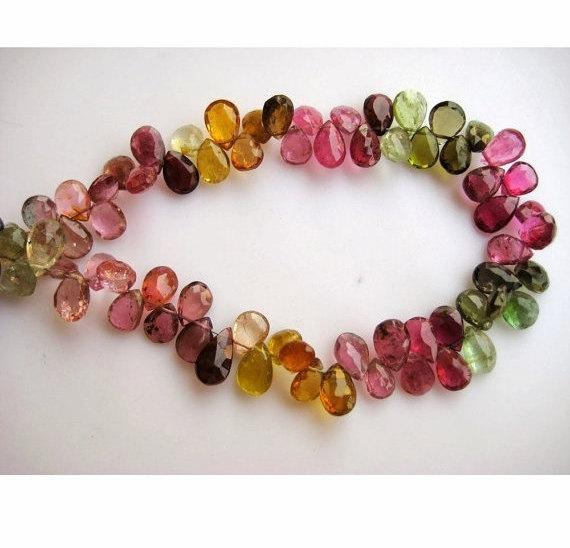 5x7mm Approx Multi Tourmaline Faceted Pear Beads, Multi Tourmaline Faceted Gems, Tourmaline Pear Bead For Jewelry (25pcs To 50pcs Options)