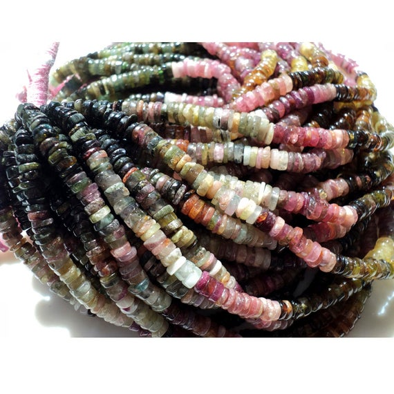 4mm Multi Tourmaline Beads, Natural Multi Tourmaline Spacer Disc Beads, Multi Tourmaline For Necklace (8in To 16in Options) - Mtsb