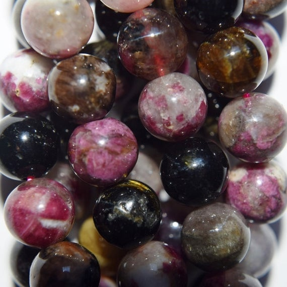 "Genuine Tourmaline Round Beads 8 Mm - Full Strand 16"", 50 Beads, A Quality"