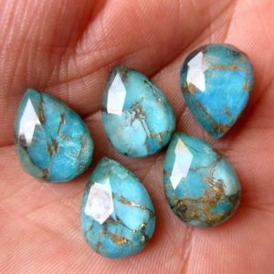 Shop Turquoise Stones & Crystals! 5 Pieces 11mm To 20mm Each Pear Shaped Blue Copper Turquoise Doublet Cabochons, Faceted Flat Back Gemstones Cabochon, GDS1002 | Natural genuine stones & crystals in various shapes & sizes. Buy raw cut, tumbled, or polished gemstones for making jewelry or crystal healing energy vibration raising reiki stones. #crystals #gemstones #crystalhealing #crystalsandgemstones #energyhealing #affiliate #ad