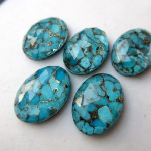 Shop Turquoise Stones & Crystals! 5 Pieces 13mm To 25mm Each Oval Shaped Blue Copper Turquoise Doublet Cabochons, Faceted Flat Back Gemstones Cabochon, GDS1001 | Natural genuine stones & crystals in various shapes & sizes. Buy raw cut, tumbled, or polished gemstones for making jewelry or crystal healing energy vibration raising reiki stones. #crystals #gemstones #crystalhealing #crystalsandgemstones #energyhealing #affiliate #ad