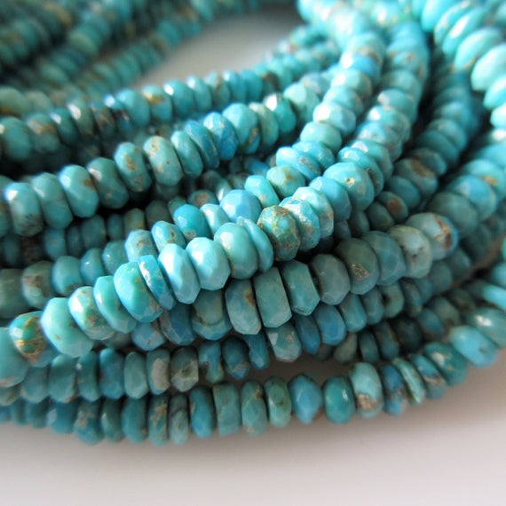 Faceted Arizona Turquoise Beads, Natural Sleeping Beauty Turquoise Rondelle Beads, 4.5mm/3.5mm Turquoise Beads, 13 Inch Strand, Gds1290